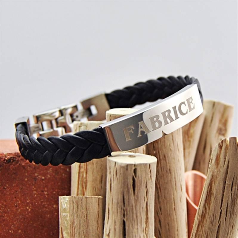 bracelet cuir homme pais tr ss avec plaque grav e. Black Bedroom Furniture Sets. Home Design Ideas