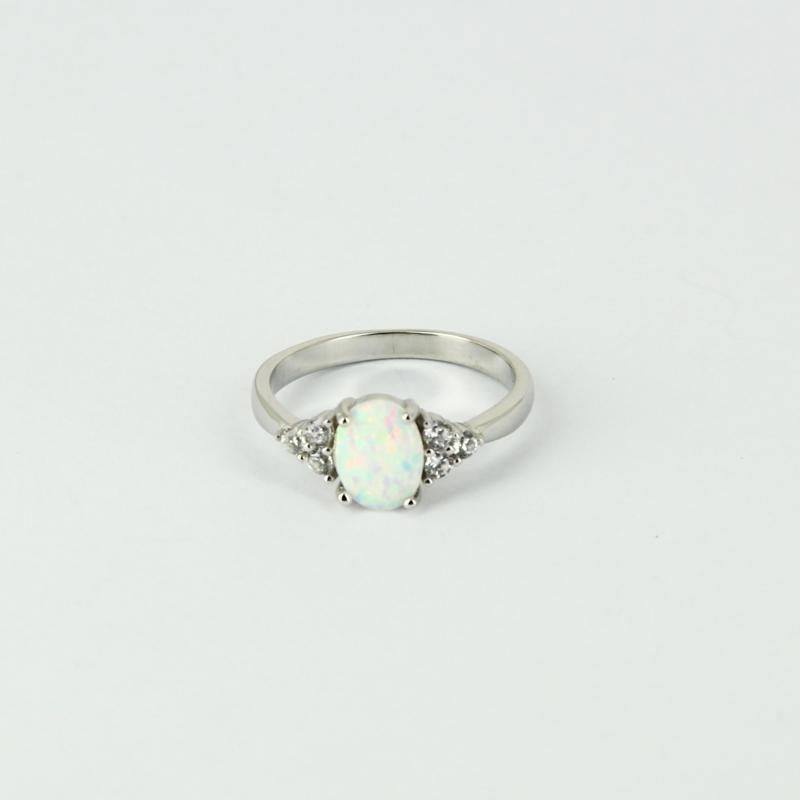 opale bague argent