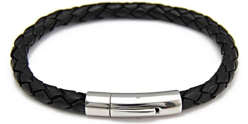 bracelet cuir homme tress et acier rond. Black Bedroom Furniture Sets. Home Design Ideas