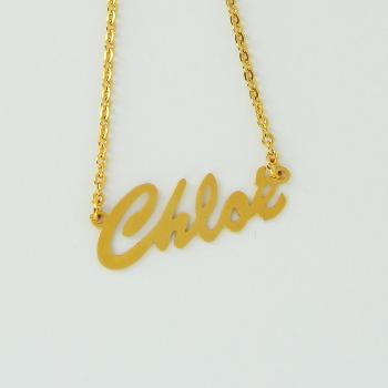 Collier prénom en or jaune 9k - Brush Script